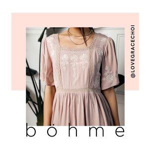 bohme | Dust Pink Embroidered Midi Dress